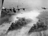 0043432 © Granger - Historical Picture ArchiveCONSOLIDATED B-24 BOMBERS.   Waves of 'Liberator' bombers photographed during an American raid on the oil refineries at Ploesti, Romania, May 1944, during World War II.