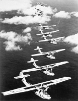 0076697 © Granger - Historical Picture ArchiveU.S. PATROL BOMBERS, 1940.   Patrol Bombers of U.S Navy Patrol Squadron 24, stationed at Pearl Harbor, Hawaii, in flight over the Pacific, 1940.