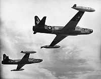 0091493 © Granger - Historical Picture ArchiveLOCKHEED F-94 STARFIRE.   U.S. Air Force Lockheed F-94 Starfire interceptor aircrafts in flight, c1952.