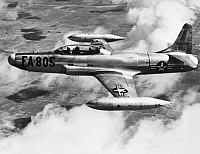 0091517 © Granger - Historical Picture ArchiveLOCKHEED F-94 STARFIRE.   U.S. Air Force Lockheed F-94 Starfire fighter aircraft in flight, 1953.