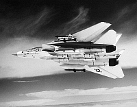 0091546 © Granger - Historical Picture ArchiveF-14 TOMCAT FIGHTER PLANE.   The Grumman F-14 Tomcat fighter plane of the U.S. Navy, fitted with Phoenix, Sidewinder and Sparrow missiles. Late-20th century photograph.