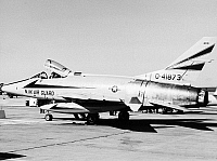 0091554 © Granger - Historical Picture ArchiveF-100 FIGHTER JET.   An F-100 Super Sabre fighter jet aircraft at the McConnell Air Force Base in Kansas. Mid-20th century photograph.