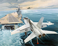 0091578 © Granger - Historical Picture ArchiveJET FIGHTER AIRCRAFT, 1980.   The McDonnell Douglas F-18 Hornet strike fighter jet aircraft landing on an aircraft carrier. 1980 illustration.