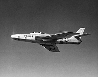 0091586 © Granger - Historical Picture ArchiveRF-84 THUNDERFLASH, 1954.   The Republic RF-84 Thunderflash reconnaissance aircraft of the U.S. Air Force. Photographed 1954.