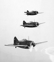 0091658 © Granger - Historical Picture ArchiveBRITISH FIGHTER PLANES.   A squadron of Brewster F2A Buffalo fighter planes undergoing flight tests, 1941.