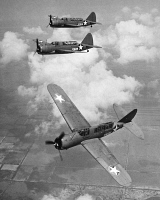0091661 © Granger - Historical Picture ArchiveAMERICAN BOMBER PLANES.   A squadron of Brewster SB2A Buccaneer scout bombers of the U.S. Navy during World War II.
