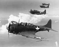 0091668 © Granger - Historical Picture ArchiveWORLD WAR II: U.S. BOMBERS.   U.S. Navy Douglas Dauntless Scout bombers in formation, 1942.
