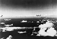 0091728 © Granger - Historical Picture ArchiveAMERICAN FIGHTER PLANES.   A squadron of North American P-51 Mustang fighter planes in flight over Saipan before transferring to Iwo Jima during World War II.