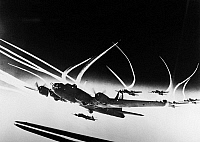 0115319 © Granger - Historical Picture ArchiveWORLD WAR II: B-17, c1942.   A squadron of U.S. Boeing B-17 Flying Fortresses photographed in flight during World War II, c1942.