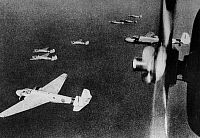 0171769 © Granger - Historical Picture ArchiveWORLD WAR II: BOMBERS, 1942.   A squadron of Japanese Nakajima G3M3 'Nell' bomber plans en route to a mission against Bataan, Philippines, 1942.