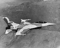 0171771 © Granger - Historical Picture ArchiveGENERAL DYNAMICS AIRPLANE.   The YF-16 military aircraft, a prototype for the F-16 Fighting Falcon, photographed during flight tests at Edwards Air Force Base in California, 1974.