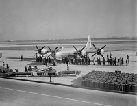 0623283 © Granger - Historical Picture ArchiveWORLD WAR II: BOEING B-29.   A Boeing B-29 Superfortress on display at Washington National Airport. Photograph by J. Sherrel Lakey, 29 November 1944.