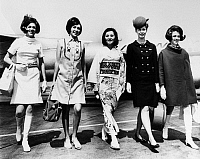 0169645 © Granger - Historical Picture ArchiveFLIGHT ATTENDANTS, 1967.   Flight attendants from different airlines modelling their new uniforms, 1967. Left to right: American, Western, Japan, Continental and American Airlines.