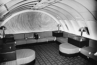 0171803 © Granger - Historical Picture ArchiveAMERICAN AIRLINES LOUNGE.   A lounge on board an American Airlines Boeing 747 airplane. Photograph, c1975.