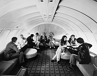 0171804 © Granger - Historical Picture ArchiveAMERICAN AIRLINES LOUNGE.   A lounge on board an American Airlines Boeing 747 airplane. Photograph, c1975.