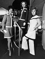 0171808 © Granger - Historical Picture ArchiveFLIGHT ATTENDANTS.   American Airlines flight attendants on board a Boeing 747 airplane. Photograph, c1972.