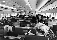 0171809 © Granger - Historical Picture ArchiveAMERICAN AIRLINES PLANE.   The Sky Club coach section of an American Airlines Boeing 747 passenger plane. Photograph, c1975.
