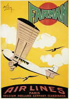 0091851 © Granger - Historical Picture ArchiveAVIATION POSTER, 1926.   Poster for the French airline company Farman, 1926, depicting the Farman F-170 Jabiru passenger plane.