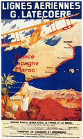 0091863 © Granger - Historical Picture ArchiveAVIATION POSTER, 1921.   A poster for the French airline Latécoère, promoting its air mail and passenger service to Spain and Morocco.