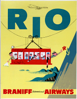 0621850 © Granger - Historical Picture ArchiveAD: BRANIFF AIRLINES, c1950.   Advertisement for Braniff International Airways depicting a cable car ascending Sugarloaf Mountain in Rio de Janeiro, Brazil. Lithograph poster, c1950.