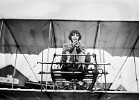 0117349 © Granger - Historical Picture ArchiveHÉLÈNE DUTRIEU (1877-1961).   French cycling world champion, motorcyclist, automobile racer, stunt driver and pioneer aviator, known as 'Girl Hawk,' the most daring and accomplished woman pilot of her time. Photographed in her airplane, c1911.
