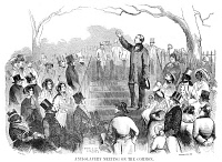 0015372 © Granger - Historical Picture ArchiveABOLITION: PHILLIPS, 1851.   Wendell Phillips speaking against the Fugitive Slave Act on Boston Common in 1851: of interest is the number of seemingly prosperous freedmen in the audience: wood engraving from a contemporary American newspaper.