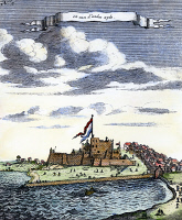 0080999 © Granger - Historical Picture ArchiveAFRICA: EL MINA FORTRESS.   El Mina, the Portugese slave trading fortress on the Guinea coast, taken by the Dutch in 1637. Line engraving, Dutch, 1704.