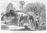 0102062 © Granger - Historical Picture ArchiveAFRICA: COLONIAL DEPOT.   Depot of stores for British ships at Funzi, on the island of Pemba, off the coast of Tanzania. Line engraving, 1881.