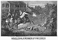 0102064 © Granger - Historical Picture ArchiveTEXAS: RACISM, 1867.   Wholesale murder of freedmen in the American South following the end of the Reconstruction. Line engraving, 1867.