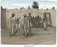 0104767 © Granger - Historical Picture ArchiveEAST AFRICA: SLAVE MARKET.   'In the slave market.' Line engraving, English, 1889, after Harry Hamilton Johnston.