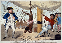 0116640 © Granger - Historical Picture ArchiveSLAVERY: SLAVE TRADE.   'The Abolition of the Slave Trade.' A sailor on a slave ship suspending an African girl by her ankle from a rope while Captain John Kimber stands on the left smiling with a whip in his hand. Etching by Isaac Cruikshank, 1792.