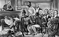 0171967 © Granger - Historical Picture ArchiveMURAL: AMISTAD TRIAL.   Spanish slave ship captain Pedro Montez points at Amistad mutineer Cinque during his trial before the Supreme Court. Behind him is Jose Ruiz and other members of the Defense Committee. James Covey, interpreter for the Africans, sits at center. Detail from the second panel from the Amistad murals by Hale Woodruff, c1938. EDITORIAL USE
