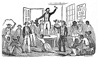 0005837 © Granger - Historical Picture ArchiveSLAVE AUCTION, 1849.   Wood engraving from the 'Narrative of the Life and Adventures of Henry Bibb, An American Slave,' 1849.