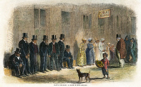 0008258 © Granger - Historical Picture ArchiveNEW ORLEANS: AUCTION, 1861.   House slaves waiting to be sold at a New Orleans slave dealer at the outbreak of the Civil War in 1861. Engraving, 1861.