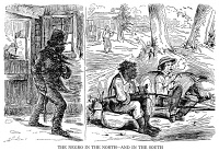 0059993 © Granger - Historical Picture ArchiveSLAVERY CARTOON, c1859.   A Northern American cartoon, c1859, contrasting the life of the plantation slave in the South with the conditions endured by free blacks in the North.