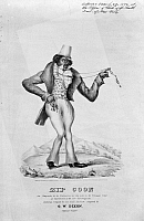 0105394 © Granger - Historical Picture ArchiveRACIAL CARICATURE, c1834.   'Zip Coon.' Caricature of an extravagantly dressed African American. Lithograph sheet music cover for G.W. Dixon, c1834.
