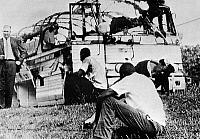 0078643 © Granger - Historical Picture ArchiveFREEDOM RIDERS, 1961.   The wreckage of a Greyhound bus carrying Freedom Riders after it had been destroyed by a fire bomb near Anniston, Alabama, 14 May 1961.