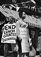 0131429 © Granger - Historical Picture ArchiveWOOLWORTH'S PROTEST, 1960.   Students protest lunch counter discrimination outside the F.W. Woolworth annual meeting in New York City, May 1960.