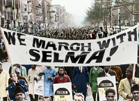 0352026 © Granger - Historical Picture ArchiveCIVIL RIGHTS MARCH, 1965.   Marchers in Harlem, New York City, carrying banners in support of the Selma to Montgomery marchers. Photograph by Stanley Wolfson, 1965, digitally colored by Granger, NYC -- All rights reserved.
