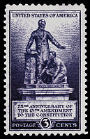 0033838 © Granger - Historical Picture ArchiveSLAVERY: 13TH AMENDMENT.   U.S. postage stamp, 1940, commemorating 75th anniversary of 13th Amendment, prohibiting slavery.