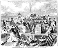 0067025 © Granger - Historical Picture ArchiveBLACK EMIGRANTS, 1867.   Black emigrants on the deck of a steamer bound for New York from Richmond, Virginia, 1867. Contemporary American wood engraving.