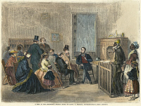 0009188 © Granger - Historical Picture ArchiveFREEDMEN'S BUREAU, 1867.   'A peep at the Freedmen's Bureau office of Lieutenant S. Merrill, superintendent third district.' The Freedman's Bureau at Richmond, Virginia. Wood engraving from an American newspaper, 1867.