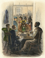 0061631 © Granger - Historical Picture ArchiveRECONSTRUCTION, 1867.   Black freedmen voting at Washington, D.C., 5 June 1867. Contemporary American wood engraving.