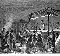 0101401 © Granger - Historical Picture ArchiveCIVIL WAR: CONTRABAND.   Evening prayer meeting at a 'Contraband' camp of former slaves freed by the Union Army at City Point, Virginia. Wood engraving, 1864.