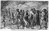 0006368 © Granger - Historical Picture ArchiveFUGITIVE SLAVES.   Twenty-eight fugitive slaves escaping from the Eastern Shore of Maryland before the American Civil War. Wood engraving, American, 1872.