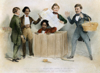 0007001 © Granger - Historical Picture ArchiveUNDERGROUND RAILROAD, 1850.  The escape of Henry Brown from Richmond to Philadelphia via Adams' Express, in a box labelled 'This side up with care'; Frederick Douglass is second from left. Lithograph, 1850.