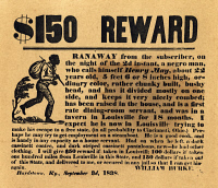 0009220 © Granger - Historical Picture ArchiveRUNAWAY SLAVE AD, 1838.   American newspaper advertisment offering a reward for Henry May, a runaway slave. Newspaper, 1838.