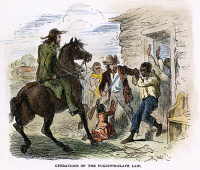0010922 © Granger - Historical Picture ArchiveFUGITIVE SLAVE ACT, c1850.   'Operations of the Fugitive-Slave Law.' A fugitive slave captured by his owner. Engraving, c1850.