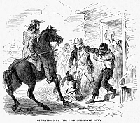 0017208 © Granger - Historical Picture ArchiveFUGITIVE SLAVE ACT, 1850.   'Operations of the Fugitive-Slave Law.' A fugitive slave captured by his owner. Wood engraving, American, contemporary with the 1850 act.