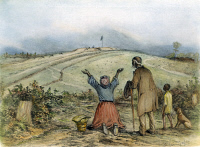 0031249 © Granger - Historical Picture ArchiveTHE SANCTUARY, 1863.   A Southern slave family coming in sight of the fortified lines of the Union Army. Drawing, 1863, by Edwin Forbes.